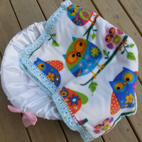 Baby Blanket, Colorful Owls Car Seat Cover, Double Sided Polar Fleece and White Flannel, Crochet Edging
