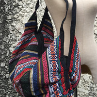 Aztec Woven Backpack Crossbody Bag for Festival  travel Boho Hippie Tribal Southwestern Style Nepali Hmong fabric Luggage bag 2in1 men women