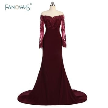 Hot Selling Burgundy Bridesmaid Dresses Long Sleeves Off the Shoulder Applique Beaded Mermaid Prom Party Dress Maid of Honor BD9