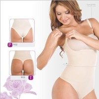 ShapEager Shapewear Lycra - Nylon Body Shaper Braless Adjustables Straps.Thong