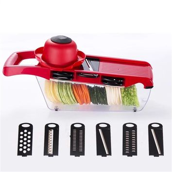Mandoline Slicer Vegetable Cutter with Stainless Steel Blade Manual Potato Peeler Carrot Cheese Grater Kitchen Gadgets Set