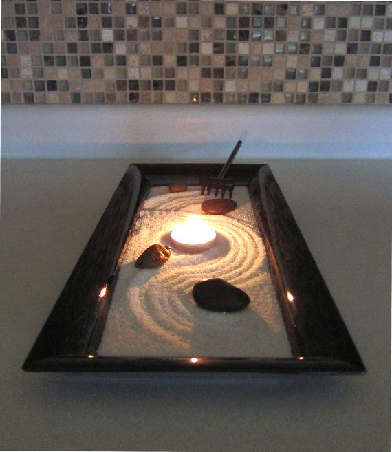 Zen garden with candle holder centerpiece from