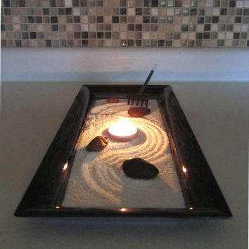 Zen Garden with Candle Holder Centerpiece - Relaxing Zen Candle Holder - Coffee Table Decor Indoor Garden Zen Home Decor - Meditation