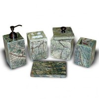 Global Pickings Natural Home Decor Aphrodite Bath Accessory Set in Antique Green Marble - 2010908836 - Bath Accessory Sets - Bathroom Fixtures - Bed & Bath