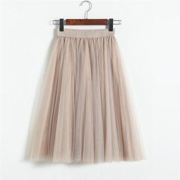 ELEXS Tulle Skirts Womens Winter Tulle Skirt Elastic High Waist Pleated Midi Skirt Three Layers E7933