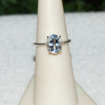 Aquamarine Ring, Size 6, Clear Water Blue, 2.5 Carats, Sterling Silver, March Birthstone, Natural Aquamarine, Aquamarine Solitaire