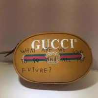 Gucci Fashion Charm Print Leather Purse Waist Bag Zipper Single-Shoulder Bag Crossbody Satchel Yellow I