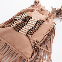 Spell Bone & Tassel bag in blush: Soleilblue.com