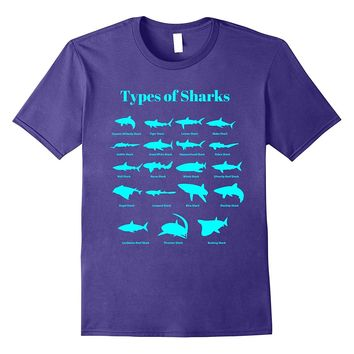 Types Of Sharks T-Shirt Educational Marine Biology Tee