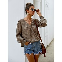 All Over Print Surplice Front Blouse