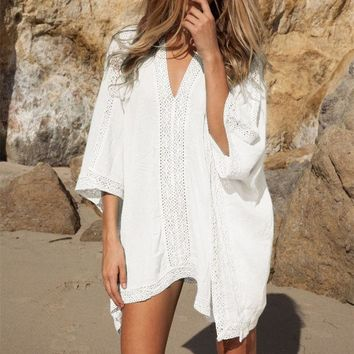 DCCKF4S Plunge-front Caftan Pareo Beach Cover Ups Rayon White Robe De Plage Sarong Plus Size Swimwear Tunic Swimsuit Coverup #Q2