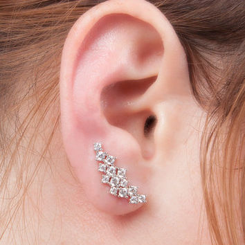 Crystal ear pin earrings in silver ear cuff ear wrap brass ear pins