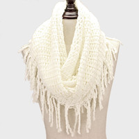 Snood Infinity Scarf Fringe White