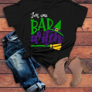 Women's Funny Halloween T Shirt I'm One Bad Witch Tee Hat Broom Witches Shirts