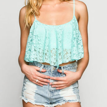 Full Tilt Lace Overlay Womens Swing Crop Top Blue  In Sizes