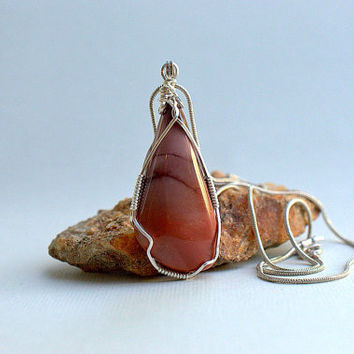Burgundy stone Mookaite Jasper silver wire wrapped free form pendant with necklace