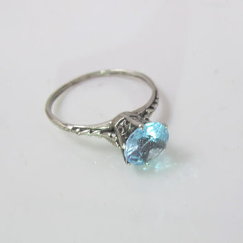 Blue Topaz Engagement Ring, Sterling Silver Art Deco Filigree Blue Gemstone Jewelry, Wedding Jewelry, December Birthstone Stacking Size 5.50