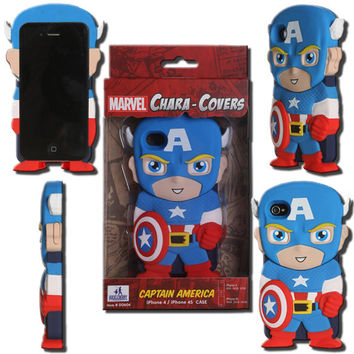 Marvel Chara-Cover Series 1 Captain America iPhone 4/4S Cell Case - Huckleberry