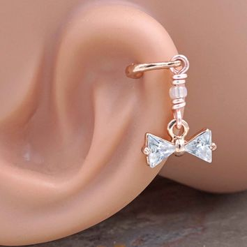 Crystal Bow Rose Gold Cartilage Hoop Earring Tragus Helix Piercing