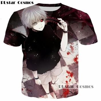 PLstar Cosmos Classic Anime Japan Tokyo Ghoul One Red Eye & Blood Harajuku 3D print T-shirt Cool Tees Men Women T shirt tshirt
