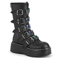 Emily 330 Goth Black Matte Ankle Boots Heart Plate Combat Boots 6-12