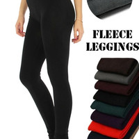 Solid Fleece Lined Jersey Leggings