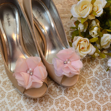 Pale Pink Flower shoe clips