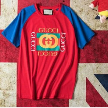 Gucci summer new  Gucci crash color joint short sleeved men's and women's washed T-shirt logo printed half sleeve