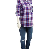 Old Navy Maternity Plaid Pullover Flannel Shirt