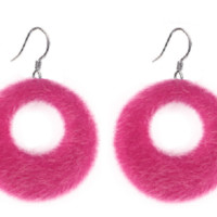 "1.60"" faux fur small hoop earrings basketball wives celebrity"