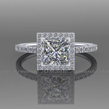 1.30 carat Moissanite Princess Cut  Engagement Ring, 14K White Gold Diamond Halo Ring, Wedding Ring RE57.6W