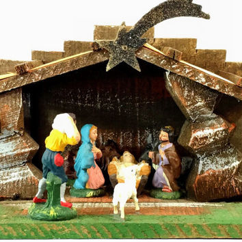 Vintage Italian Creche Paper Mache Christmas Nativity Set Wood Stable, Manger, Figures And Animals - Christmas Present Gift