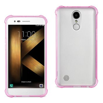 LG K20 V/ K20 Plus Clear Bumper Case With Air Cushion Protection (Clear Hot Pink)