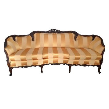 Pre-owned Carved Wood Upholstered Sofa in Yellow Stripes