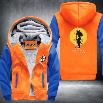 New Dragon Ball Animate Hoodie mens Thicken Fleece Zipper Jacket Super Saiyan Goku DBZ