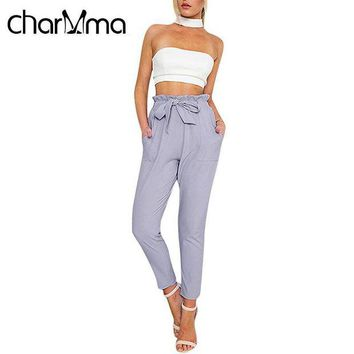 ONETOW CharMma Casual Women Pants Elegant Trousers High Waisted OL Pants Bowtie Design Slim Solid Office Lady Harem Pants