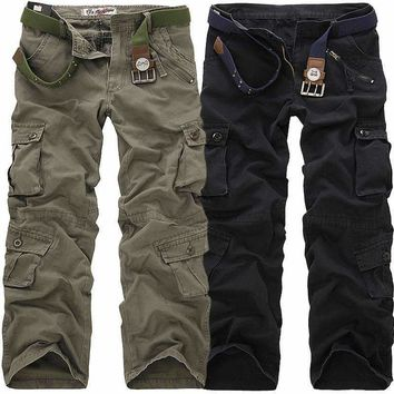 2018 High Quality Men's Cargo Pants Casual Multi Pocket Military Pants Long trousers for men Plus Size 28-40