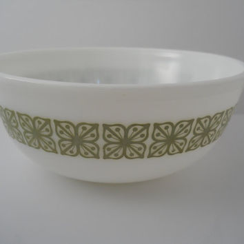 Pyrex Square Flowers Verde Green 4 Qt Mixing Bowl 404