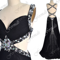 Black Prom Dresses, Sexy Formal Dresses, Straps with Crystal Long Chiffon Black Prom Gown with Cross Back, Sexy Black Evening Dresses