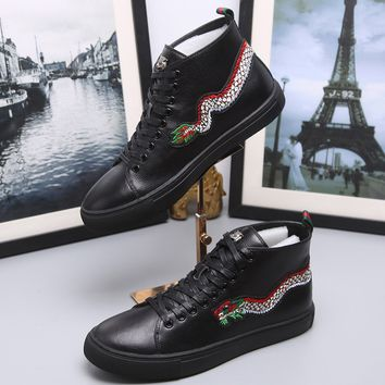 Gucci Fashion Dragon Embroidery Leather High top Sneaker