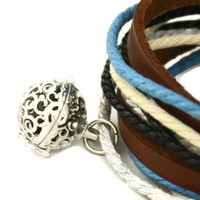 """Seaside"" Leather Wrap Essential Oil Diffuser Bracelet/ Choker Necklace"