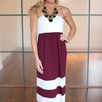 Show Your Stripes Maxi Dress Burgundy