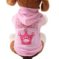 New Pink Pet Dog Clothes Crown Pattern Puppy Clothing Coat Hooded Cotton T Shirt Aug15