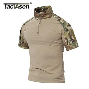 TACVASEN Men Summer T Shirt 2019 New Paintball Tactical T Shirt Short Sleeve Military Camouflage Cotton Tee Shirts Hunt Clothes