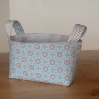Medium Fabric Storage Bin Basket - Blue Flower and Dot