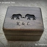 Proposal Ring Box - Engraved Ring Box - Wooden Ring Box - Personalized Ring box with elephants and your initials engraved to top