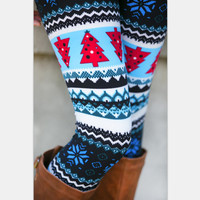 Blue Christmas Print Leggings [8096858183]