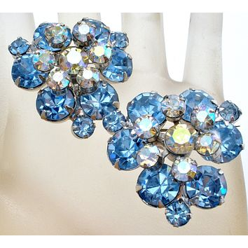 Pair of Juliana  Blue Flower Spray Pins Brooches Vintage