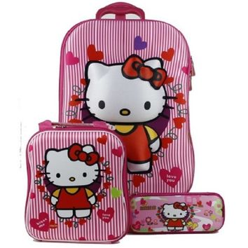 Hot 3PCS/set 3D stereo trolley case Cute hello kitty anime kids Travel suitcase girl cartoon luggage EVA children schoolbag