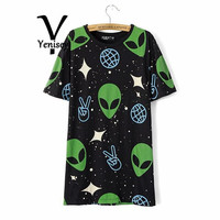 Top Limited Appliques Print Crop Tops Crop Top Kq-35 Europe Wind Alien Pattern In The Long Section Of Women's T-shirt Tee